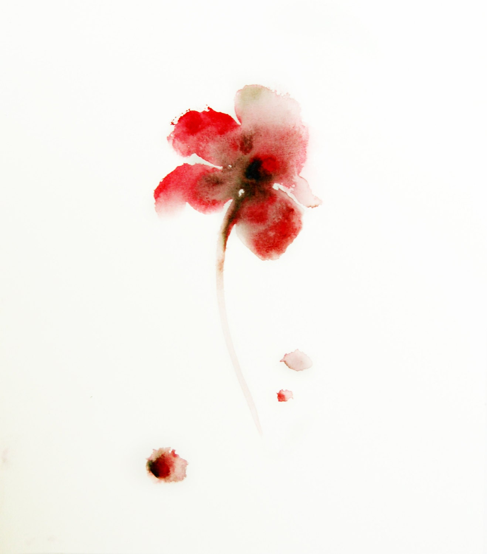 fleur rouge aquarelle originale minimaliste floral. Black Bedroom Furniture Sets. Home Design Ideas