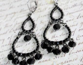 Black Swarovski Rhinestone Crystal Chandelier Earrings FREE SHIPPING