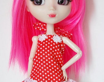 Neon Pink Striaght Mid Length Wig for Pullip Dolls 1/3 Head size SALE