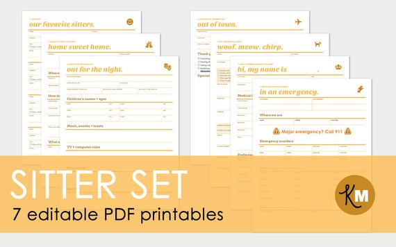 Babysitter pet sitter and house sitter information sheets 7 page