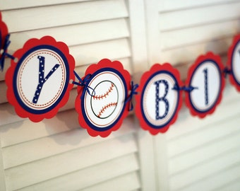 Baseball HAPPY BIRTHDAY Banner, baseball party decorations in Red and Blue, 1st birthday party decorations