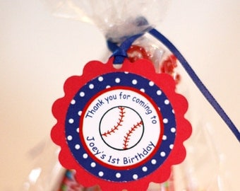 Baseball Theme Favor Tags (12), baseball party decorations in Red and Blue, 1st birthday party decorations
