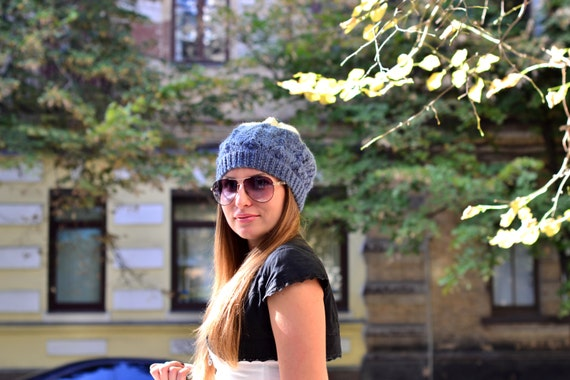 Oversized Slouch Hat - Knit Slouchy Beanie for Women and Teens - Blue & Rustic White