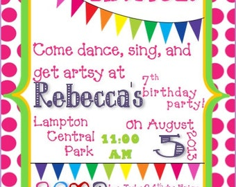 Colorful Birthday Invitation Customizable Template
