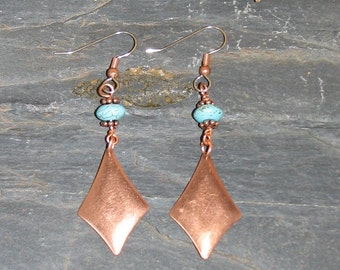 Copper/Turquoise Magnesite Earwires