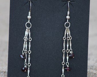Sterling silver chain and garnet dangle earrings with garnets nuggets