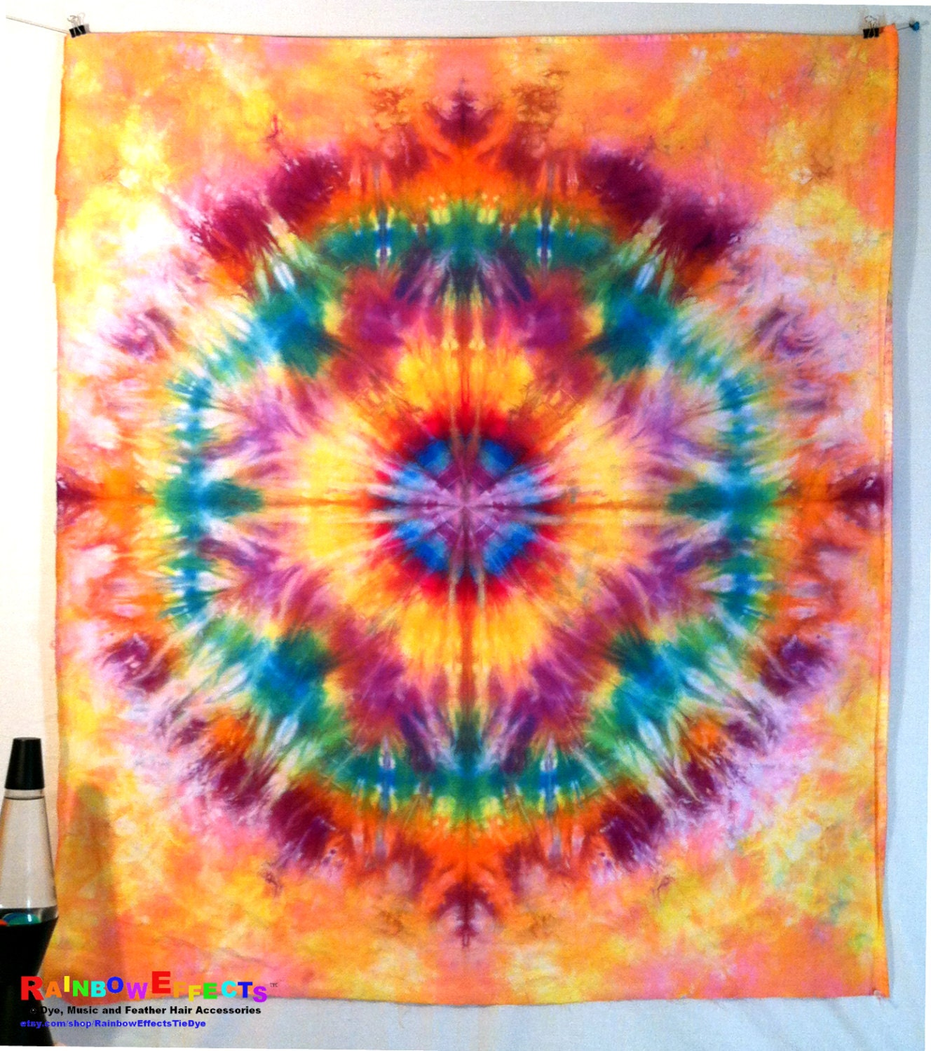 tapestry tie dye wall home decor blue yellow purple