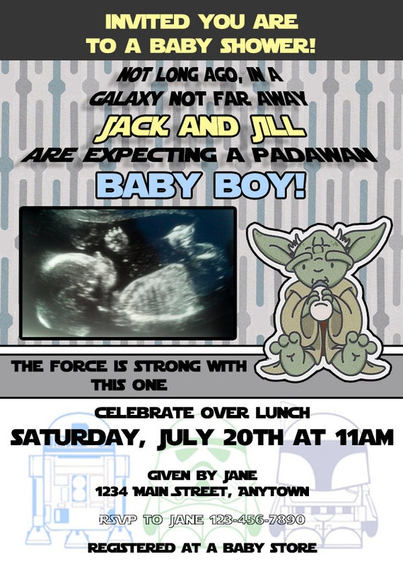 baby shower invitation star wars themed can be customized for any