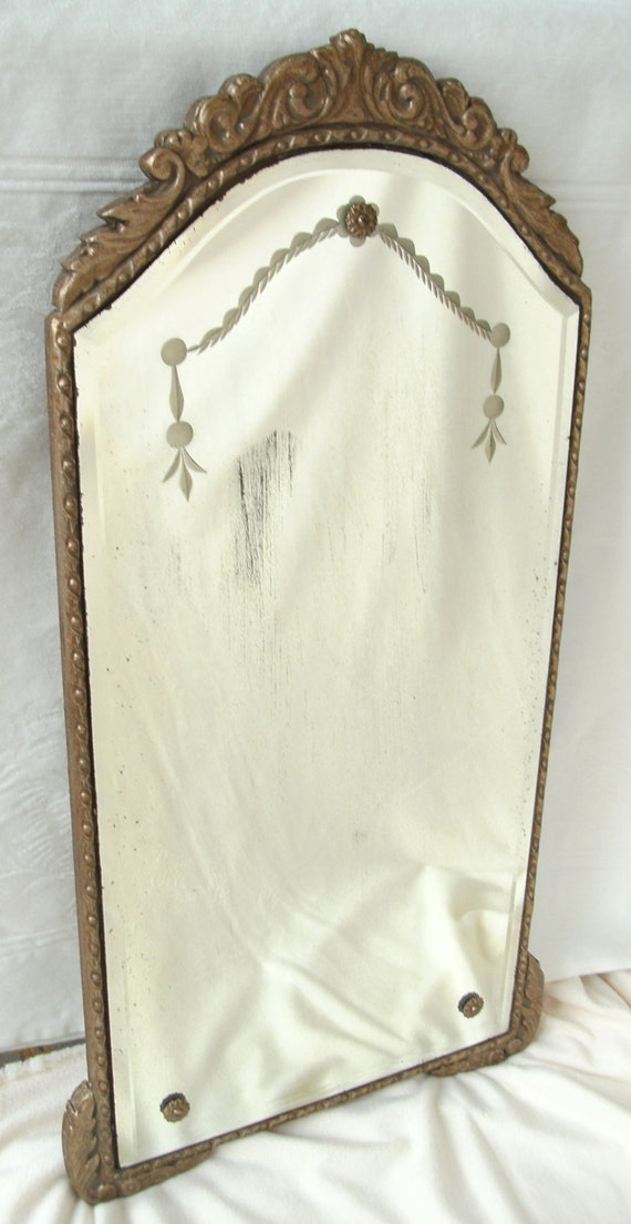 Antique French style etched & beveled mirror in gold / bronze plaster frame