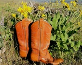 70's / Whiskey Brown / Vintage Cowboy Boots /  Women's / sz 6