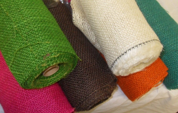 Items similar to colored burlap rolls 21 x 5 yards wreath for Colored burlap fabric