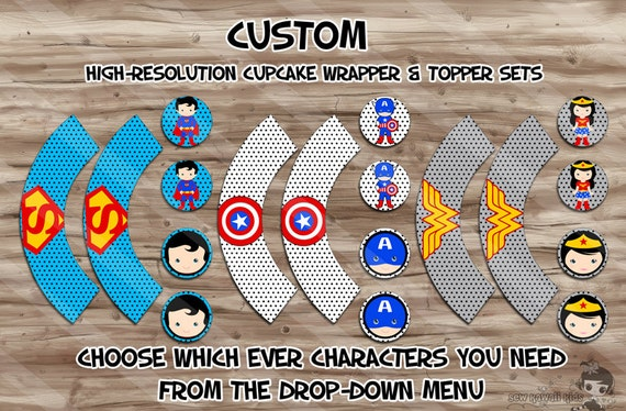 Superhero Cupcake Wrappers, Superhero Cupcake Toppers, Superman, Spiderman, Batman, Birthday Party Supplies,  YOU CHOOSE - JPG Digital File