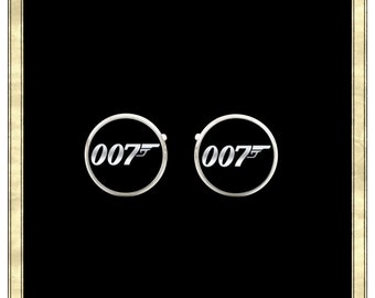 007- Silver Plated Cufflinks, Mens Cufflinks, Hero Cufflinks