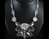 "Art Nouveau necklace ""Water lily"", lotus flower, OOAK sterling silver fine jewelry"
