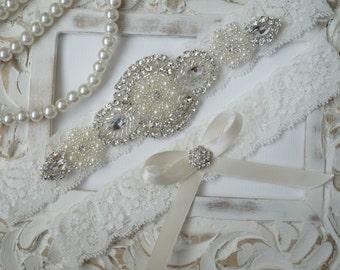 SALE--Wedding Garter Set, Bridal Garter Set, Vintage Wedding, Ivory Lace Garter, Crystal Garter Set, Something Blue - Style 600