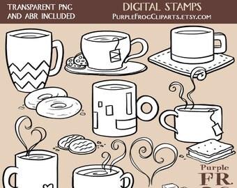 COFFEE AND TEA - Digital Stamp Set. 15 images, 300 dpi. jpeg, png, abr files. Instant download.