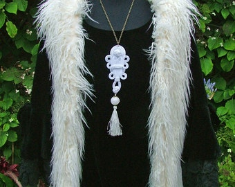 A White Mist Descends-Large White and Bronze Statement Tassel Necklace