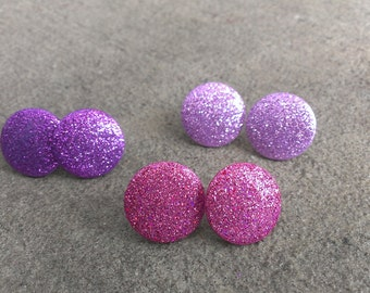 Nell, round glitter post earring