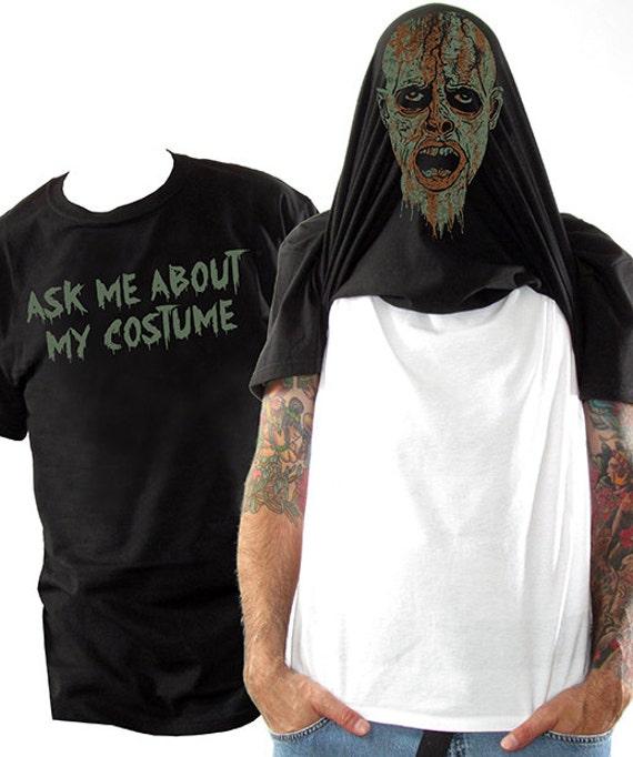 Halloween Costume Flip Tee - Zombie Mask Flip Up Shirt - Halloween Costume for Adults - Funny Costume