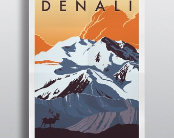 Denali National Park Travel Poster