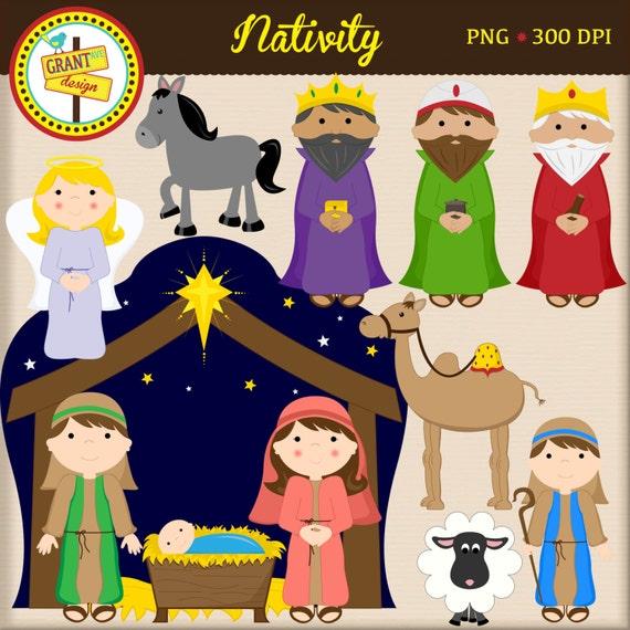 Nativity Clipart - Christmas Clip Art - Cute Digital Clipart Set ...