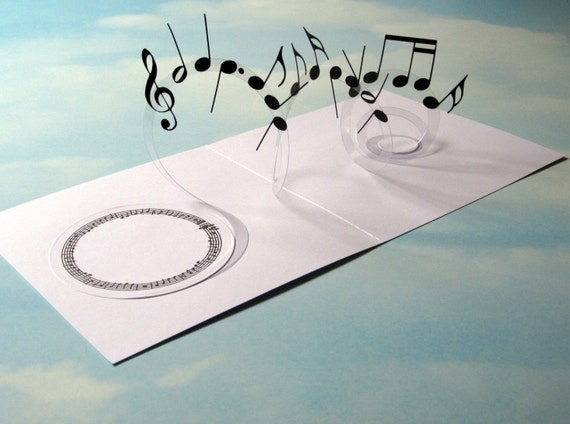 Music card spiral pop up musical notes 3d card handmade for 3d pop up card templates free