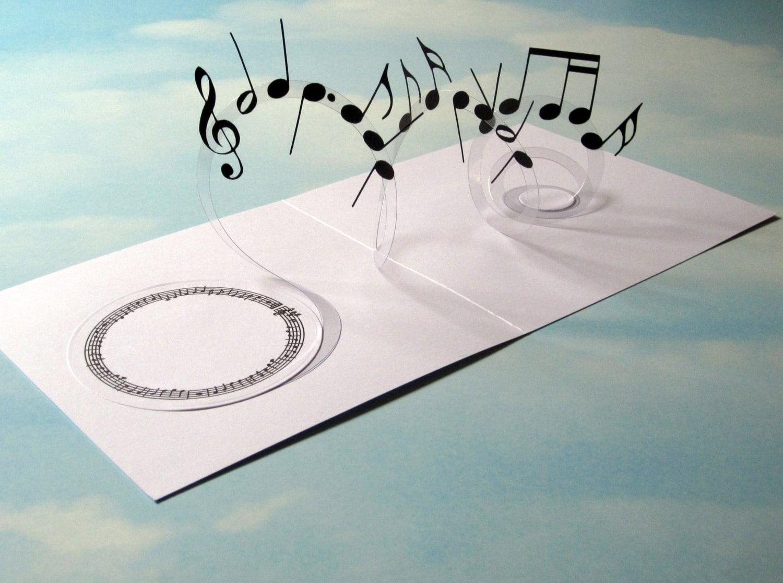 Music Card Spiral Pop Up Musical Notes 3D Card Handmade