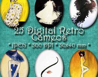 INSTANT DOWNLOAD René Gruau Digital Retro Fashion Cameos 30x40 mm ovals Digital Collage Sheet - for Jewelry, Crafts