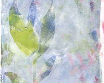 Limited Edition Print of original Acrylic Abstract Artwork  - Green  Flower