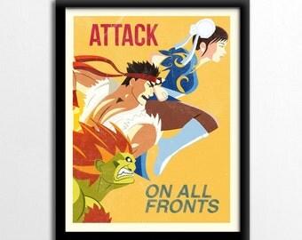Street Fighter Inspired Poster Illustration Print, propaganda poster