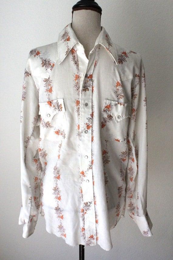 Mens Orange Floral Western Pearl Snap Shirt Champion