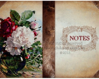 NOTES - Printable Download Digital Collage Sheet Art Book Cover Paper Craft Scrapbook