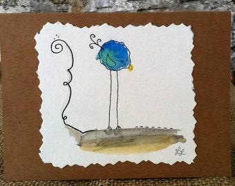 Whimsical Handmade Watercolor Bird Notecards BLANK - Set of 4