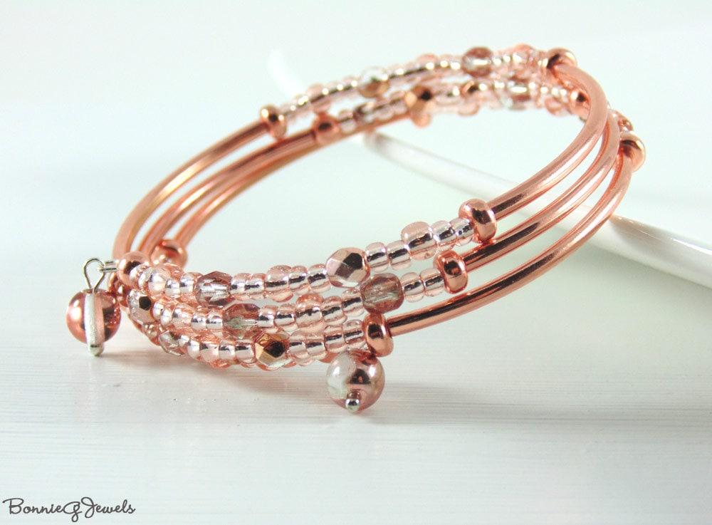 memory wire bracelet beaded bracelet coil wrap bracelet