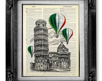 Living Room Decor, Home OFFICE Wall Art, Leaning Tower PISA Tower, Italian Art ITALIAN Decor Italian Home Decor, Hot Air Balloon Decoration
