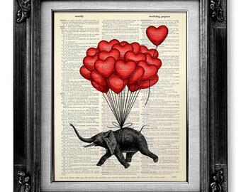 Elephant Art Print, DICTIONARY Art Print on Dictionary Paper, ELEPHANT Wall Decor, Elephant POSTER Dorm Decor Office Art - Fun Love Elephant