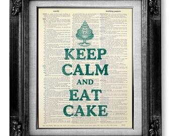 KITCHEN PRINT Art - Retro Kitchen Art Wall Decor, Cupcake Kitchen Decor, DICTIONARY Art Print on Dictionary Paper - Keep Calm and Eat Cake