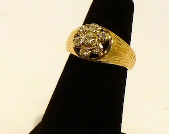 14k Yellow Gold Diamond Flower Ring - EB051