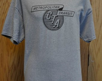 Chicago Transit Authority Vintage Metropolitan Transit Logo T Shirt - Chicago CTA Railroad Fan Shirt