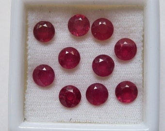 20% DISCOUNT 6x6 mm ROUND pair natural genuine RUBY top cut  faceted gemstone..