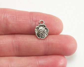 10 pc. Rose Blossom charm, 10mm, antique silver finish