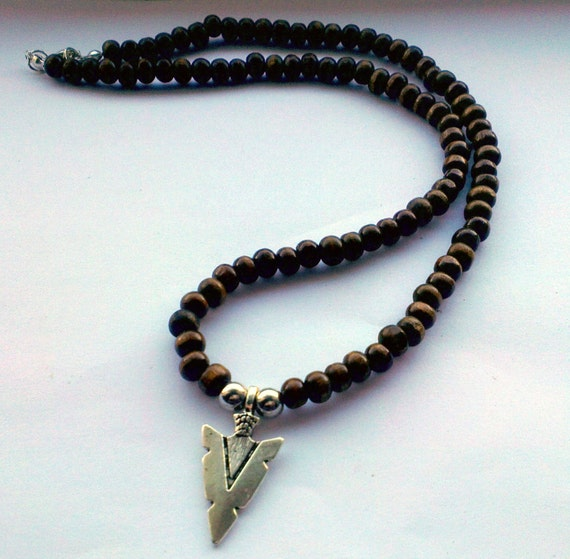 Mens Native American Beads: Men's Arrow Necklace Wooden Necklaces For Men By TiggyFiggy