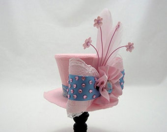Cinderella Mini Top Hat Headband, Pink Blue Rhinestone Bow, Fascinator Feathers, Princess, Birthday, Dress Up, Photo Shoot, READY TO MOUNT