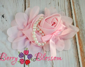 "5"" inch Light Pink Chiffon Flower with Pearl Beads & Ribbon - flower accessory - headband flower - corsage wedding flowers"