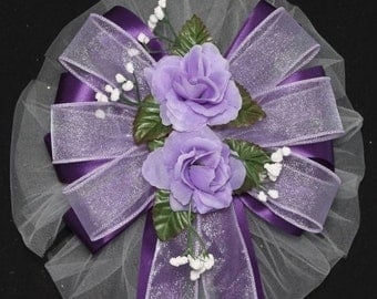 Duo Lavender Roses Purple Wedding Pew Bow - Church Pew Decorations, Wedding Aisle Decorations, Wedding Ceremony Bow, Wedding Chair Bows