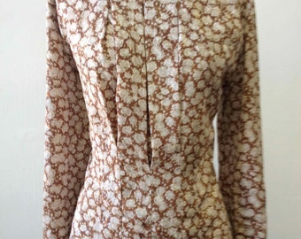 SALE! 1980's Tess Silky Pleated Flower Print Blouse