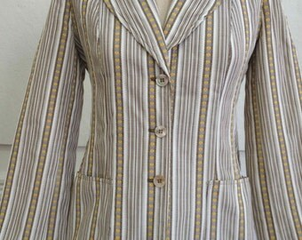1970s StripedBrown/White/Yellow Fitted Blazer with Shell Buttons/ Small