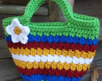 Happy Little Crochet Bag - Multicolored Rainbow-Toned Purse