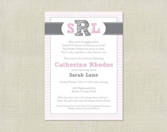 Pink Girl Baby Sprinkle Shower Invite / Invitation / Pink & Grey / Chevron / Monogram / Printable