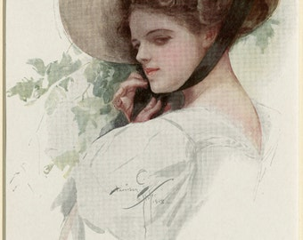 "Matted Antique Fashion Print  Harrison Fisher C. 1908  Edwardian Era Vintage Decor 9x12"""